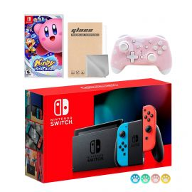 Nintendo Switch Neon Red Blue Joy-Con Console Set, Bundle With Kirby Star Allies And Mytrix Wireless Switch Pro Controller and Accessories