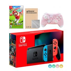 Nintendo Switch Neon Red Blue Joy-Con Console Set, Bundle With Mario Golf: Super Rush And Mytrix Wireless Switch Pro Controller and Accessories