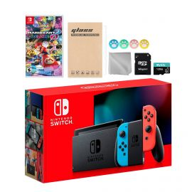 Nintendo Switch Neon Red Blue Joy-Con Console Set, Bundle With Mario Kart 8 Deluxe And Mytrix Accessories