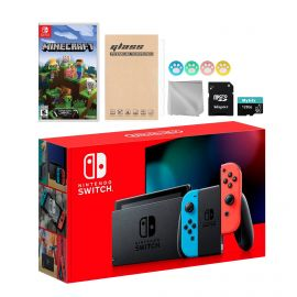 Nintendo Switch Neon Red Blue Joy-Con Console Set, Bundle With Minecraft And Mytrix Accessories