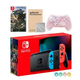 Nintendo Switch Neon Red Blue Joy-Con Console Set, Bundle With Monster Hunter: Rise And Mytrix Wireless Switch Pro Controller and Accessories
