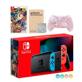 Nintendo Switch Neon Red Blue Joy-Con Console Set, Bundle With Super Bomberman R And Mytrix Wireless Switch Pro Controller and Accessories