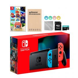 Nintendo Switch Neon Red Blue Joy-Con Console Set, Bundle With Super Mario 3D All-Stars And Mytrix Accessories