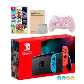 Nintendo Switch Neon Red Blue Joy-Con Console Set, Bundle With Super Mario 3D All-Stars And Mytrix Wireless Switch Pro Controller and Accessories