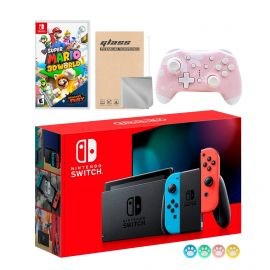 Nintendo Switch Neon Red Blue Joy-Con Console Set, Bundle With Super Mario 3D World + Bowser's Fury And Mytrix Wireless Pro Controller and Accessories