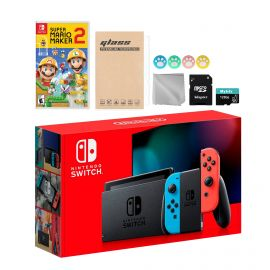 Nintendo Switch Neon Red Blue Joy-Con Console Set, Bundle With Super Mario Maker 2 And Mytrix Accessories