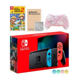 Nintendo Switch Neon Red Blue Joy-Con Console Set, Bundle With Super Mario Maker 2 And Mytrix Wireless Switch Pro Controller and Accessories