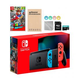Nintendo Switch Neon Red Blue Joy-Con Console Set, Bundle With Super Mario Odyssey And Mytrix Accessories