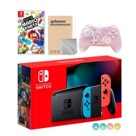 Nintendo Switch Neon Red Blue Joy-Con Console Set, Bundle With Super Mario Party And Mytrix Wireless Pro Controller and Accessories