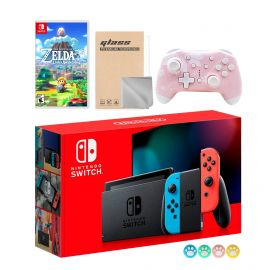 Nintendo Switch Neon Red Blue Joy-Con Console Set, Bundle With The Legend of Zelda Link's Awakening And Mytrix Wireless Pro Controller and Accessories