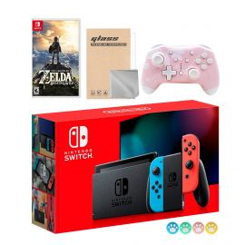 Nintendo Switch Neon Red Blue Joy-Con Console Set, Bundle With The Legend of Zelda: Breath of the Wild And Mytrix Wireless Pro Controller and Accessories