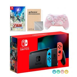 Nintendo Switch Neon Red Blue Joy-Con Console Set, Bundle With The Legend of Zelda: Skyward Sword HD And Mytrix Wireless Switch Pro Controller and Accessories