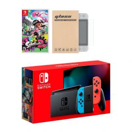 Nintendo Switch Neon Red Blue Joy-Con Console Splatoon 2 Bundle, with Mytrix Tempered Glass Screen Protector - Improved Battery Life Console with the Best Shooter Game