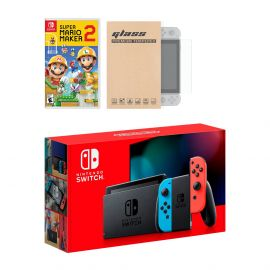 Nintendo Switch Neon Red Blue Joy-Con Console Super Mario Maker 2 Bundle, with Mytrix Tempered Glass Screen Protector - Improved Battery Life Console with the Best Mario Maker Game