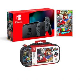 Nintendo Switch Odyssey Bundle: Gray Joy-Con Improved Battery Life 32GB Console,Super Mario Odyssey Game Disc and Odyssey Deluxe Travel Case