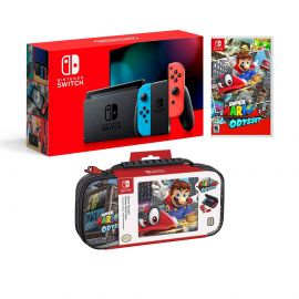 Nintendo Switch Odyssey Bundle: Red and Blue Joy-Con Improved Battery Life 32GB Console,Super Mario Odyssey Game Disc and Odyssey Deluxe Travel Case