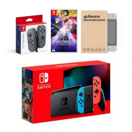 Nintendo Switch Red/Blue Joy-Con Console Bundle with an Extra Pair of Gray Joy-Con, Fire Emblem: Three Houses, and Mytrix Tempered Glass Screen Protector