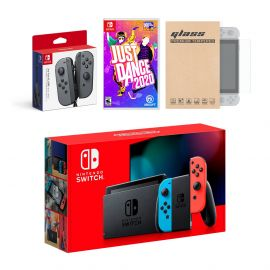 Nintendo Switch Red/Blue Joy-Con Console Bundle with an Extra Pair of Gray Joy-Con, Just Dance 2020, and Tempered Glass Screen Protector