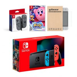 Nintendo Switch Red/Blue Joy-Con Console Bundle with an Extra Pair of Gray Joy-Con, Kirby Star Allies, and Mytrix Tempered Glass Screen Protector