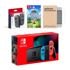 Nintendo Switch Red/Blue Joy-Con Console Bundle with an Extra Pair of Gray Joy-Con, Legend of Zelda Link's Awakening, and Mytrix Tempered Glass Screen Protector
