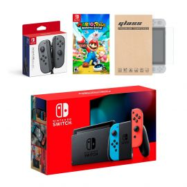 Nintendo Switch Red/Blue Joy-Con Console Bundle with an Extra Pair of Gray Joy-Con, Mario Rabbids Kingdom Battle, and Tempered Glass Screen Protector