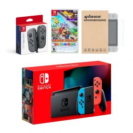 Nintendo Switch Red/Blue Joy-Con Console Bundle with an Extra Pair of Gray Joy-Con, Paper Mario: The Origami King, and Mytrix Tempered Glass Screen Protector