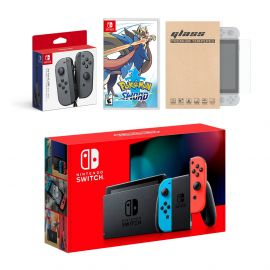 Nintendo Switch Red/Blue Joy-Con Console Bundle with an Extra Pair of Gray Joy-Con, Pokemon Sword, and Mytrix Tempered Glass Screen Protector