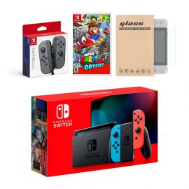 Nintendo Switch Red/Blue Joy-Con Console Bundle with an Extra Pair of Gray Joy-Con, Super Mario Odyssey, and Tempered Glass Screen Protector