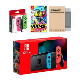 Nintendo Switch Red/Blue Joy-Con Console Bundle with an Extra Pair of Neon Pink/Green Joy-Con, Arms, and Tempered Glass Screen Protector