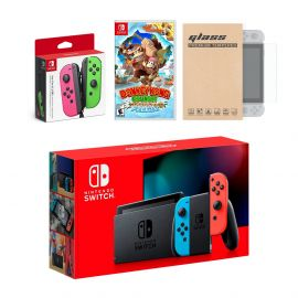 Nintendo Switch Red/Blue Joy-Con Console Bundle with an Extra Pair of Neon Pink/Green Joy-Con, Donkey Kong Country: Tropical Freeze, and Mytrix Tempered Glass Screen Protector