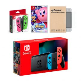 Nintendo Switch Red/Blue Joy-Con Console Bundle with an Extra Pair of Neon Pink/Green Joy-Con, Kirby Star Allies, and Tempered Glass Screen Protector