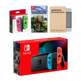 Nintendo Switch Red/Blue Joy-Con Console Bundle with an Extra Pair of Neon Pink/Green Joy-Con, Minecraft, and Mytrix Tempered Glass Screen Protector