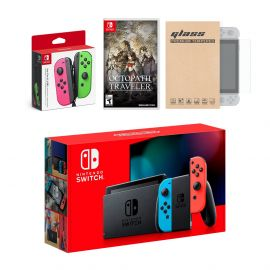 Nintendo Switch Red/Blue Joy-Con Console Bundle with an Extra Pair of Neon Pink/Green Joy-Con, Octopath Traveler, and Tempered Glass Screen Protector