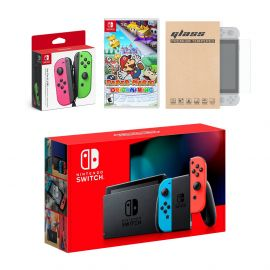 Nintendo Switch Red/Blue Joy-Con Console Bundle with an Extra Pair of Neon Pink/Green Joy-Con, Paper Mario: The Origami King, and Mytrix Tempered Glass Screen Protector
