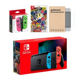 Nintendo Switch Red/Blue Joy-Con Console Bundle with an Extra Pair of Neon Pink/Green Joy-Con, Super Bomberman R, and Tempered Glass Screen Protector