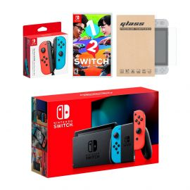 Nintendo Switch Red/Blue Joy-Con Console Bundle with an Extra Pair of Neon Red/Blue Joy-Con, 1-2 Switch, and Tempered Glass Screen Protector