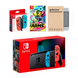 Nintendo Switch Red/Blue Joy-Con Console Bundle with an Extra Pair of Neon Red/Blue Joy-Con, Arms, and Mytrix Tempered Glass Screen Protector