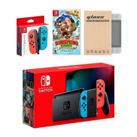 Nintendo Switch Red/Blue Joy-Con Console Bundle with an Extra Pair of Neon Red/Blue Joy-Con, Donkey Kong Country: Tropical Freeze, and Tempered Glass Screen Protector