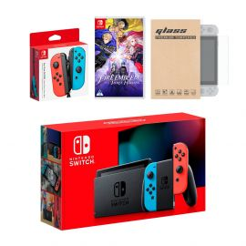 Nintendo Switch Red/Blue Joy-Con Console Bundle with an Extra Pair of Neon Red/Blue Joy-Con, Fire Emblem: Three Houses, and Tempered Glass Screen Protector