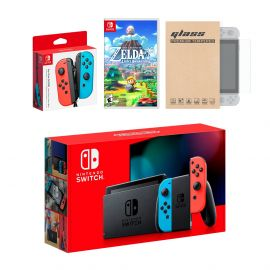 Nintendo Switch Red/Blue Joy-Con Console Bundle with an Extra Pair of Neon Red/Blue Joy-Con, Legend of Zelda Link's Awakening, and Mytrix Tempered Glass Screen Protector