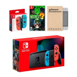 Nintendo Switch Red/Blue Joy-Con Console Bundle with an Extra Pair of Neon Red/Blue Joy-Con, Luigi's Mansion 3, and Mytrix Tempered Glass Screen Protector
