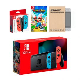 Nintendo Switch Red/Blue Joy-Con Console Bundle with an Extra Pair of Neon Red/Blue Joy-Con, Mario Rabbids Kingdom Battle, and Mytrix Tempered Glass Screen Protector
