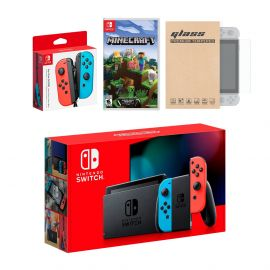 Nintendo Switch Red/Blue Joy-Con Console Bundle with an Extra Pair of Neon Red/Blue Joy-Con, Minecraft, and Tempered Glass Screen Protector