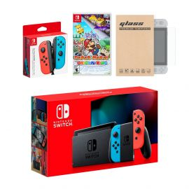 Nintendo Switch Red/Blue Joy-Con Console Bundle with an Extra Pair of Neon Red/Blue Joy-Con, Paper Mario: The Origami King, and Mytrix Tempered Glass Screen Protector