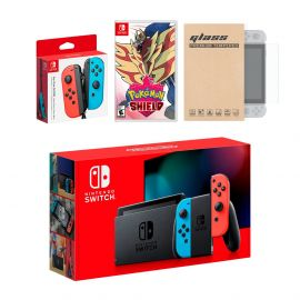Nintendo Switch Red/Blue Joy-Con Console Bundle with an Extra Pair of Neon Red/Blue Joy-Con, Pokemon Shield, and Mytrix Tempered Glass Screen Protector