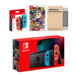 Nintendo Switch Red/Blue Joy-Con Console Bundle with an Extra Pair of Neon Red/Blue Joy-Con, Super Bomberman R, and Mytrix Tempered Glass Screen Protector