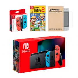 Nintendo Switch Red/Blue Joy-Con Console Bundle with an Extra Pair of Neon Red/Blue Joy-Con, Super Mario Maker 2, and Tempered Glass Screen Protector