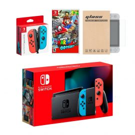Nintendo Switch Red/Blue Joy-Con Console Bundle with an Extra Pair of Neon Red/Blue Joy-Con, Super Mario Odyssey, and Mytrix Tempered Glass Screen Protector