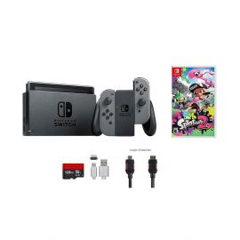 Nintendo Switch Splatoon 2 Bundle (6 items): 32GB Console Gray Joy-con, Game Disc Splatoon 2, 128GB Micro SD Card, Type C Cable, HDMI Cable Wall Charger