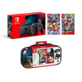 Nintendo Switch Super Mario Kart 8 and Odyssey Deluxe Bundle: Gray Joy-Con Improved Battery Life 32GB Console,Super Mario Odyssey, Super Mario Kart 8 Deluxe Game Disc and Travel Case